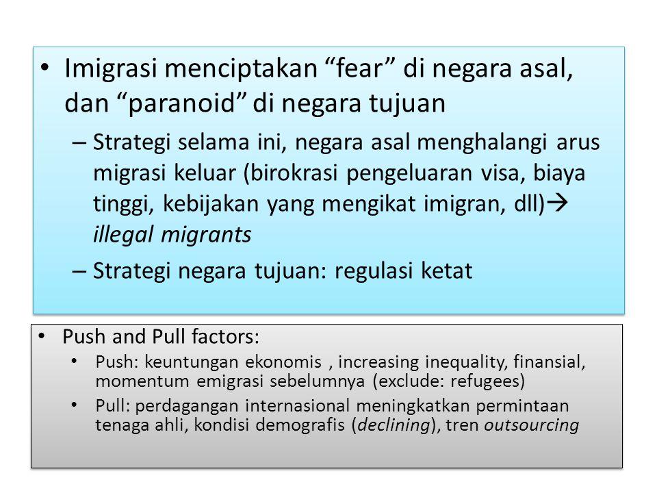 "Imigrasi menciptakan ""fear"" di negara asal, dan ""paranoid"" di negara tujuan – Strategi selama ini, negara asal menghalangi arus migrasi keluar (birokr"