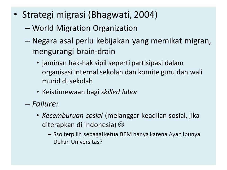 Strategi migrasi (Bhagwati, 2004) – World Migration Organization – Negara asal perlu kebijakan yang memikat migran, mengurangi brain-drain jaminan hak