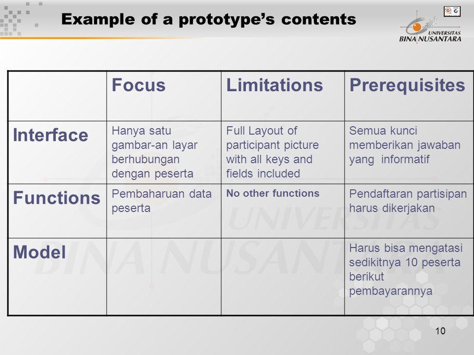 10 Example of a prototype's contents FocusLimitationsPrerequisites Interface Hanya satu gambar-an layar berhubungan dengan peserta Full Layout of part