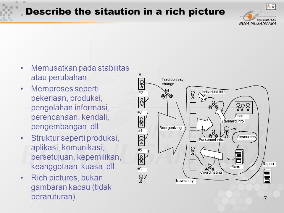 7 Describe the sitaution in a rich picture Memusatkan pada stabilitas atau perubahan Memproses seperti pekerjaan, produksi, pengolahan informasi, pere