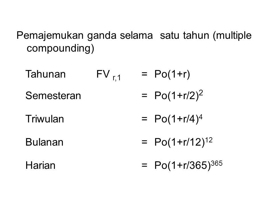 Pemajemukan ganda selama satu tahun (multiple compounding) TahunanFV r,1 =Po(1+r) Semesteran=Po(1+r/2) 2 Triwulan=Po(1+r/4) 4 Bulanan=Po(1+r/12) 12 Harian=Po(1+r/365) 365
