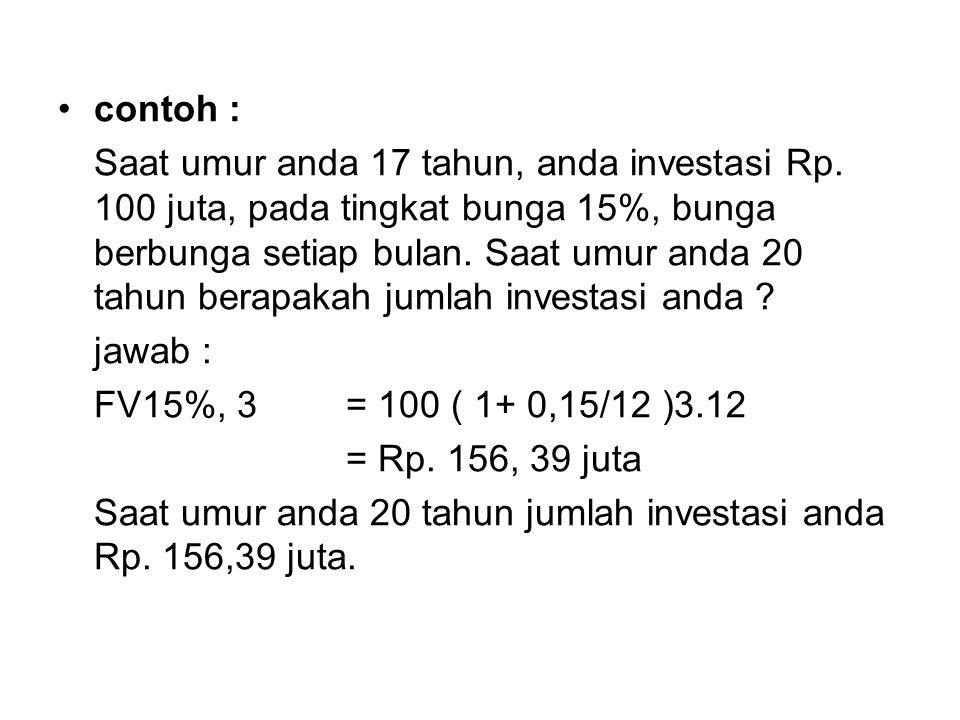 contoh : Saat umur anda 17 tahun, anda investasi Rp.