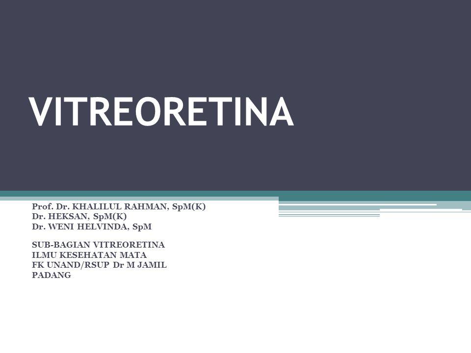 ABLATIO RETINA PENATALAKSANAAN  Prinsip  Temukan robekan atau hole  Tutup robekan atau hole ▫Scleral buckle ▫Pneumatic retinopexy ▫Vitrektomi  Punctie SRF  Buat iritasi korioretinal disekitar hole atau robekan