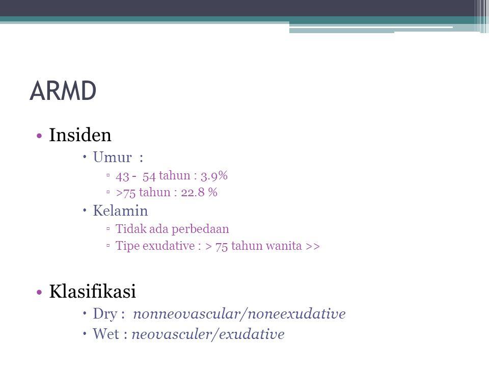 ARMD Insiden  Umur : ▫43 - 54 tahun : 3.9% ▫>75 tahun : 22.8 %  Kelamin ▫Tidak ada perbedaan ▫Tipe exudative : > 75 tahun wanita >> Klasifikasi  Dry : nonneovascular/noneexudative  Wet : neovasculer/exudative