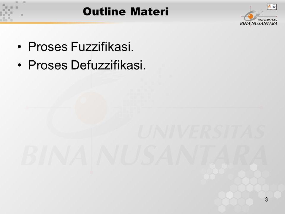 3 Outline Materi Proses Fuzzifikasi. Proses Defuzzifikasi.