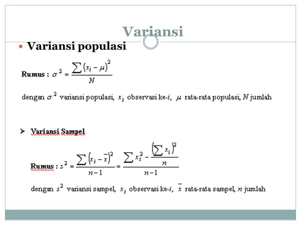 Contoh : Tentukan variansi dari 5, 7, 2, 2, 4 ! Peny : Rata-rata =5 Variansi = 4.5