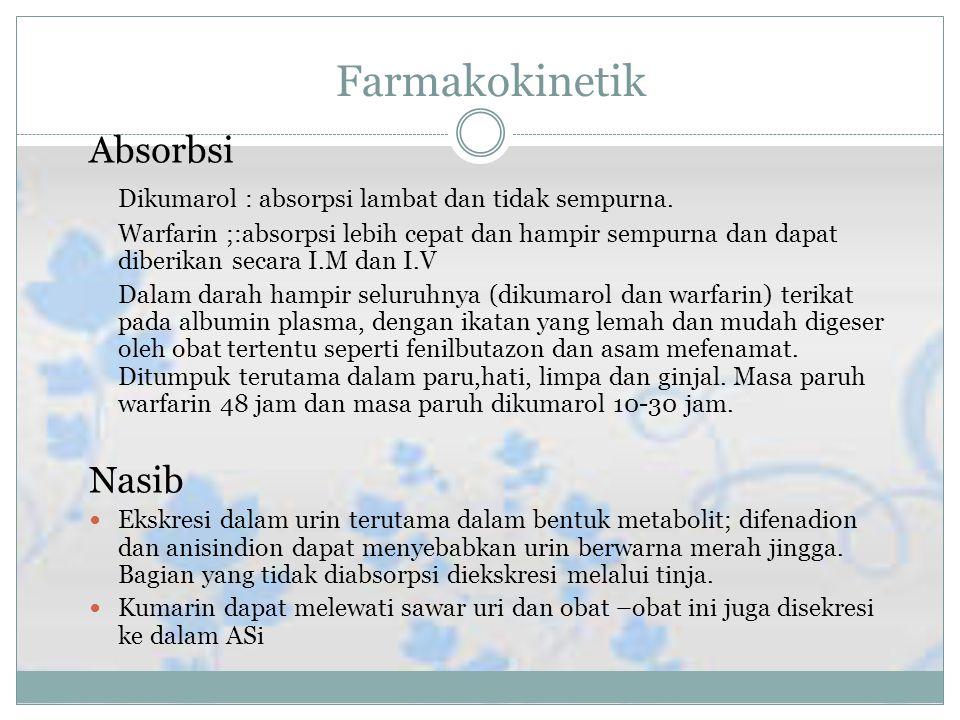 Farmakokinetik Absorbsi Dikumarol : absorpsi lambat dan tidak sempurna.
