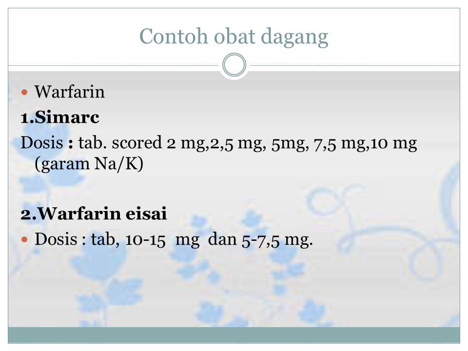 Contoh obat dagang Warfarin 1.Simarc Dosis : tab.