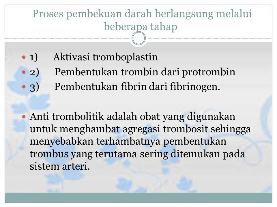 Proses pembekuan darah berlangsung melalui beberapa tahap 1) Aktivasi tromboplastin 2) Pembentukan trombin dari protrombin 3) Pembentukan fibrin dari fibrinogen.