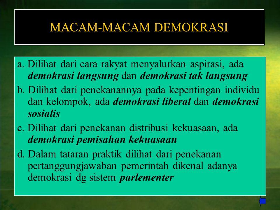 MACAM-MACAM DEMOKRASI a. Dilihat dari cara rakyat menyalurkan aspirasi, ada demokrasi langsung dan demokrasi tak langsung b. Dilihat dari penekanannya