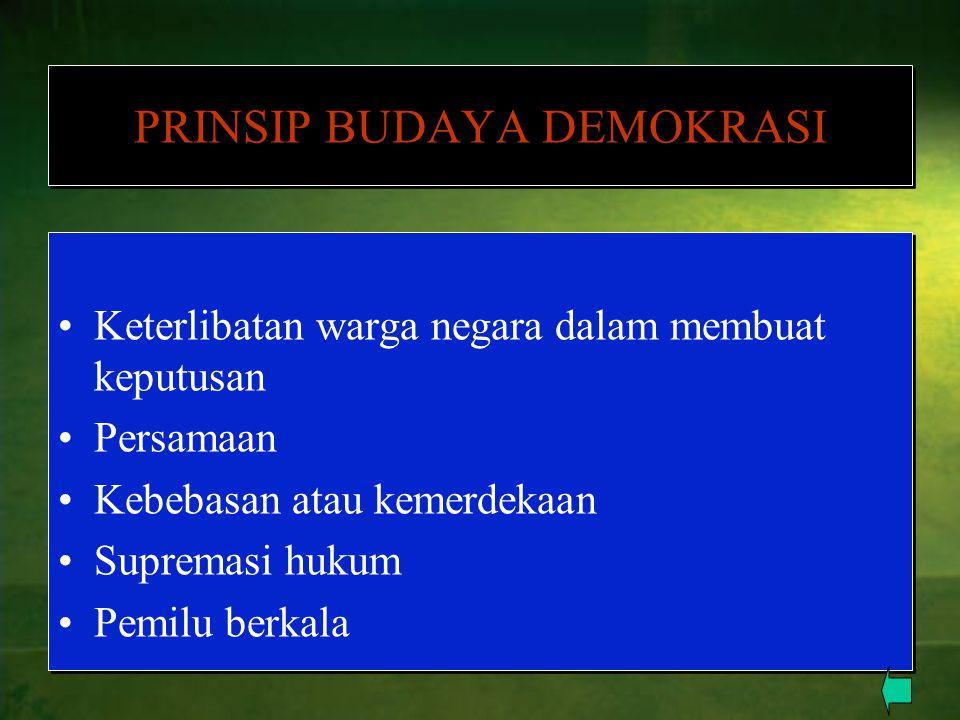 PRINSIP BUDAYA DEMOKRASI Keterlibatan warga negara dalam membuat keputusan Persamaan Kebebasan atau kemerdekaan Supremasi hukum Pemilu berkala Keterli