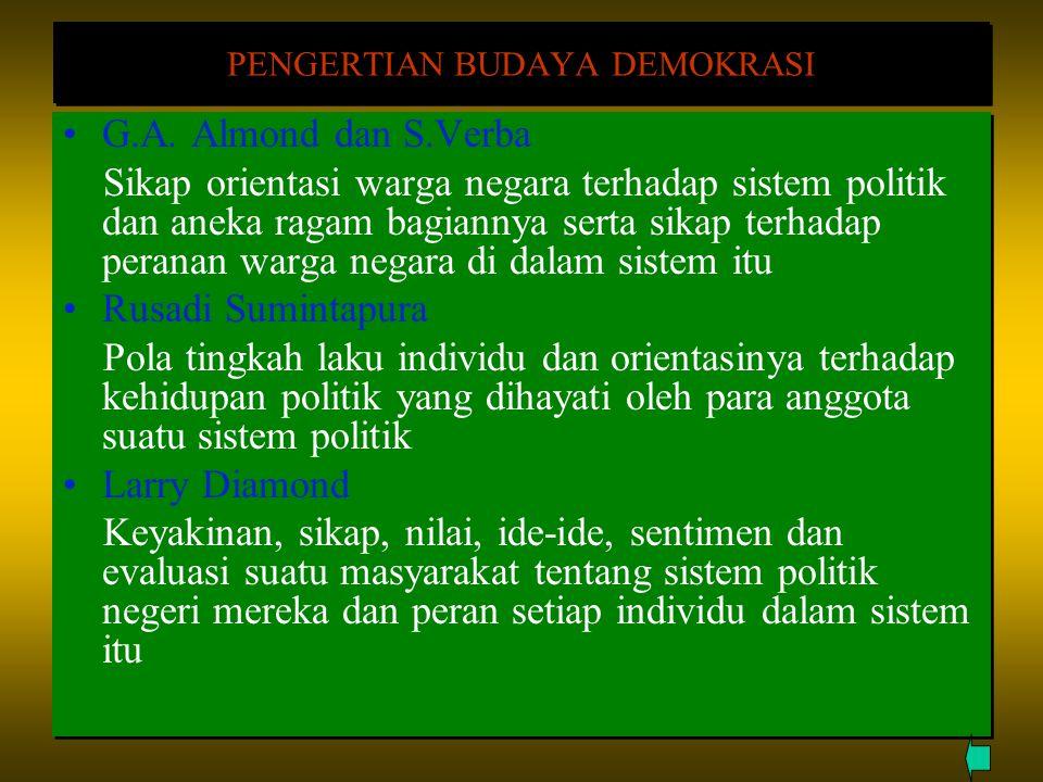 PENGERTIAN BUDAYA DEMOKRASI G.A. Almond dan S.Verba Sikap orientasi warga negara terhadap sistem politik dan aneka ragam bagiannya serta sikap terhada