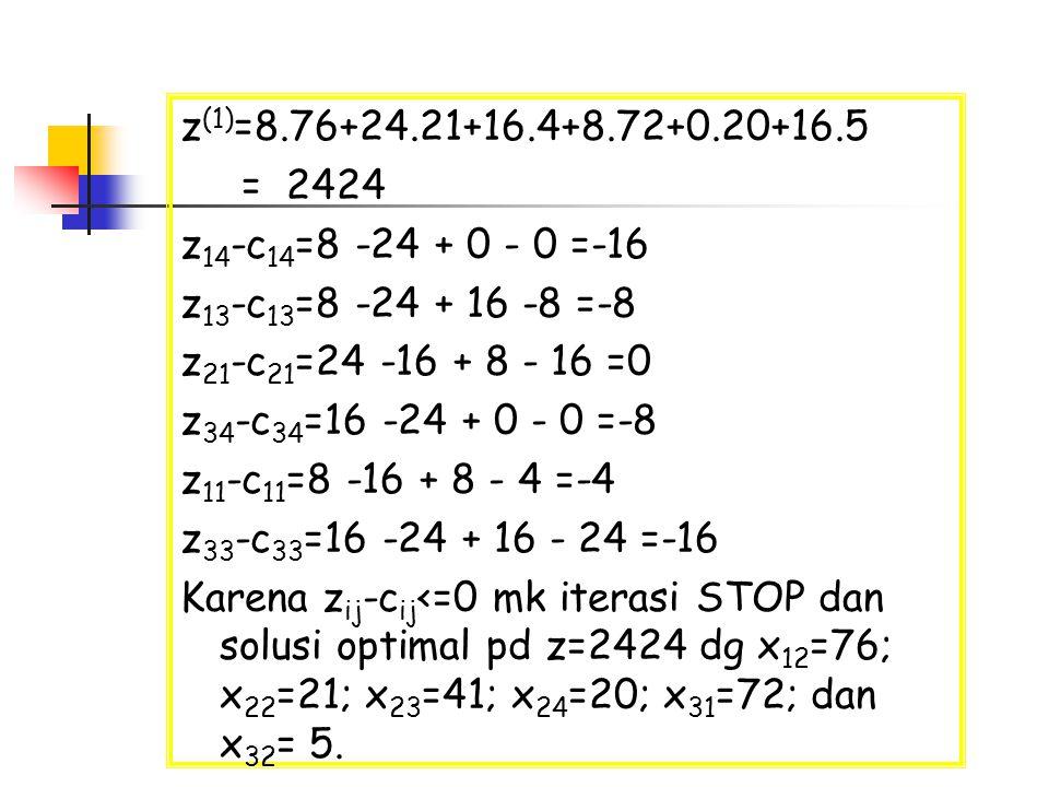 z (1) =8.76+24.21+16.4+8.72+0.20+16.5 = 2424 z 14 -c 14 =8 -24 + 0 - 0 =-16 z 13 -c 13 =8 -24 + 16 -8 =-8 z 21 -c 21 =24 -16 + 8 - 16 =0 z 34 -c 34 =1