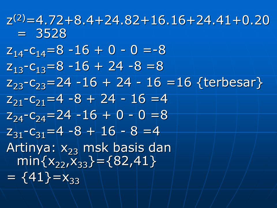 z (2) =4.72+8.4+24.82+16.16+24.41+0.20 = 3528 z 14 -c 14 =8 -16 + 0 - 0 =-8 z 13 -c 13 =8 -16 + 24 -8 =8 z 23 -c 23 =24 -16 + 24 - 16 =16 {terbesar} z