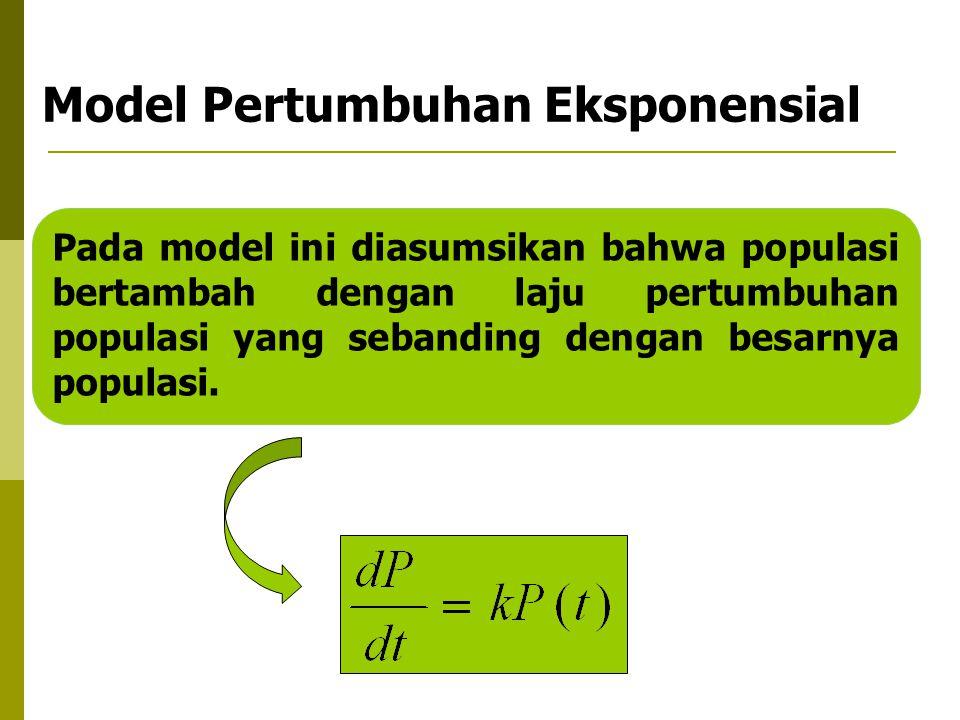 Model Pertumbuhan Eksponensial Pada model ini diasumsikan bahwa populasi bertambah dengan laju pertumbuhan populasi yang sebanding dengan besarnya pop