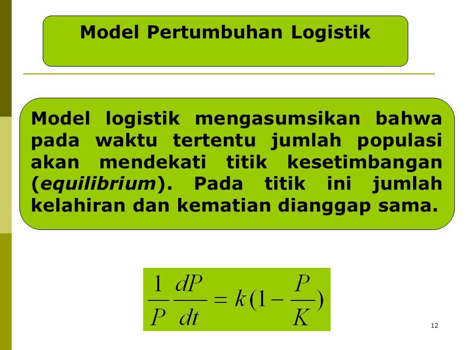 12 Model Pertumbuhan Logistik Model logistik mengasumsikan bahwa pada waktu tertentu jumlah populasi akan mendekati titik kesetimbangan (equilibrium).