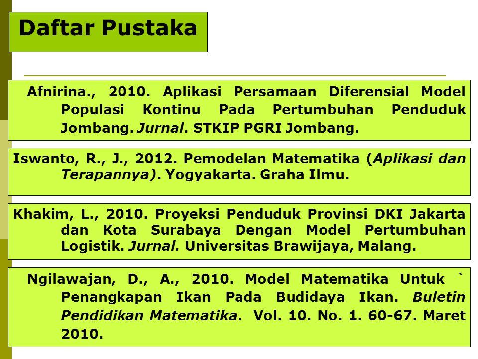 23 Afnirina., 2010. Aplikasi Persamaan Diferensial Model Populasi Kontinu Pada Pertumbuhan Penduduk Jombang. Jurnal. STKIP PGRI Jombang. Iswanto, R.,