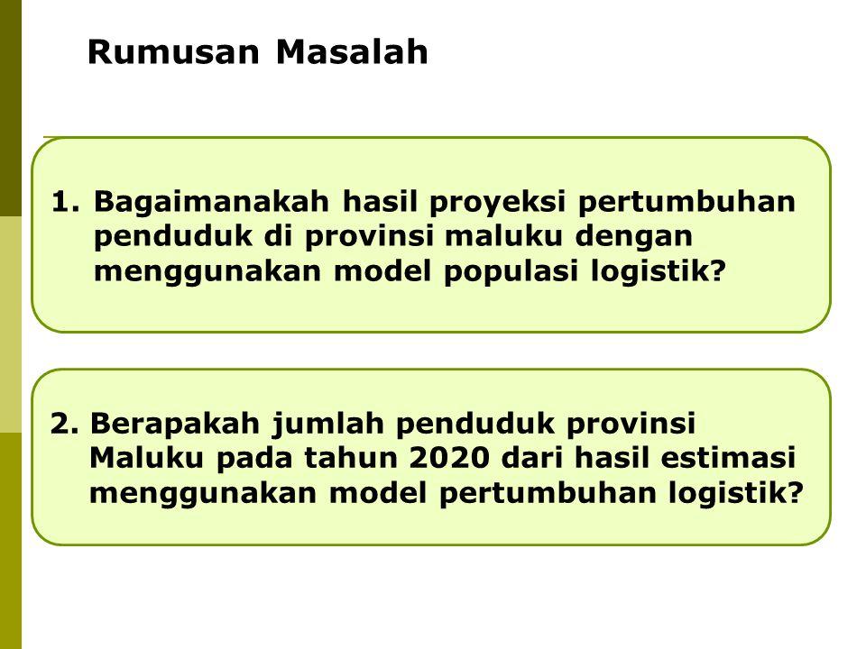 1.Bagaimanakah hasil proyeksi pertumbuhan penduduk di provinsi maluku dengan menggunakan model populasi logistik? 2. Berapakah jumlah penduduk provins