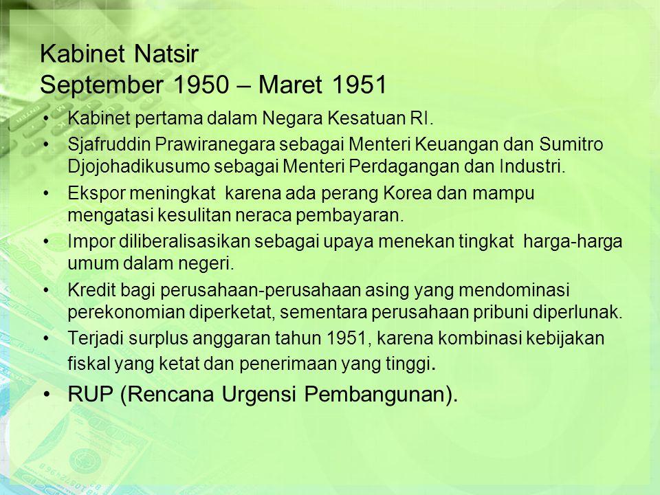 Kabinet Natsir September 1950 – Maret 1951 Kabinet pertama dalam Negara Kesatuan RI.