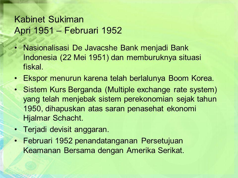Kabinet Sukiman Apri 1951 – Februari 1952 Nasionalisasi De Javacshe Bank menjadi Bank Indonesia (22 Mei 1951) dan memburuknya situasi fiskal.