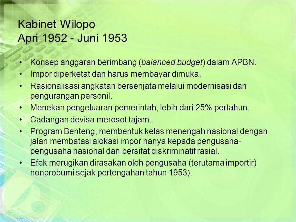 Kabinet Wilopo Apri 1952 - Juni 1953 Konsep anggaran berimbang (balanced budget) dalam APBN.