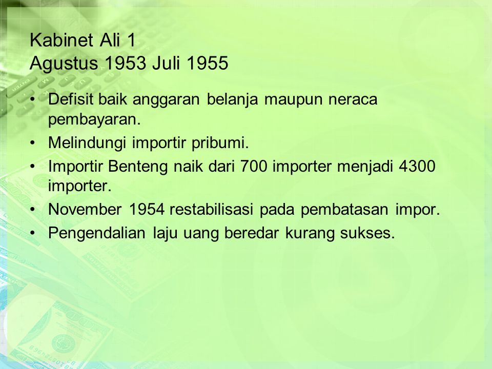2.5 Neraca-neraca Ekonomi Nasional Tabel 2.8 Pendapatan dan Belanja Pemerintah, pada Tahun 1955 -1965, dalam Jutaan Rupiah Baru (Emisi 1966) Tahun (1)Pendapatan (2) Belanja (3) Selisish (4) Rasio (5) 1955 1956 1957 1958 1959 1960 1961 1962 1963 1964 1965 14 18 21 23 30 50 62 75 162 283 923 16 21 26 35 44 58 88 122 330 681 2.526 -2 -3 -5 -12 -14 -8 -26 -47 -168 -398 -1.063 14% 17% 24% 52% 47% 16% 42% 60% 104% 141% 174% Rata-rata151359-2081375