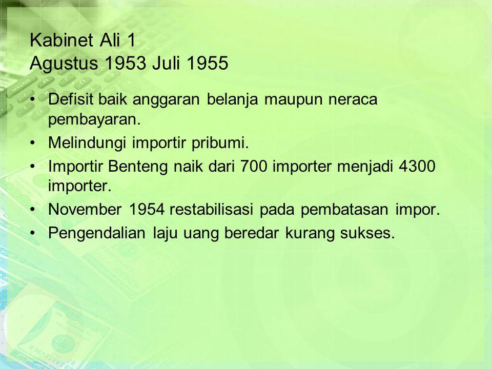 Kabinet Ali 1 Agustus 1953 Juli 1955 Defisit baik anggaran belanja maupun neraca pembayaran.