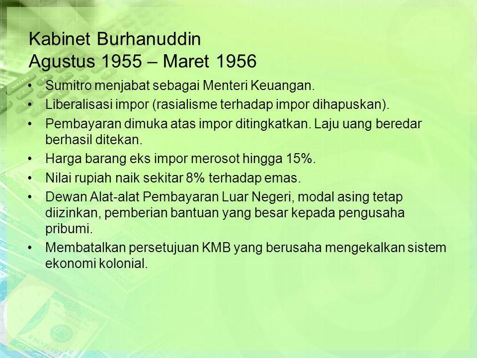 Kabinet Burhanuddin Agustus 1955 – Maret 1956 Sumitro menjabat sebagai Menteri Keuangan.