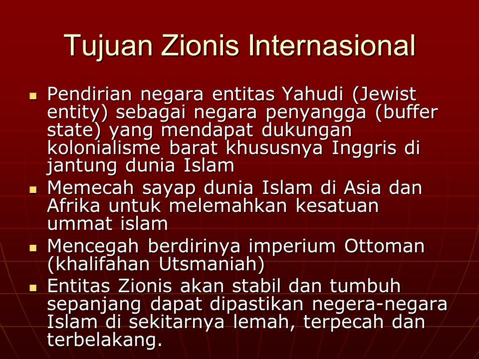 Zionis Israel Organisasi Zionis Dunia (orld Zionist Organization) didirikan di Basle Swiss pada Agustus 1897 dibawah kepimpinan Theodore Herzl. Organi