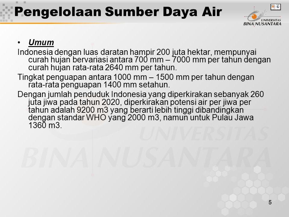5 Pengelolaan Sumber Daya Air Umum Indonesia dengan luas daratan hampir 200 juta hektar, mempunyai curah hujan bervariasi antara 700 mm – 7000 mm per tahun dengan curah hujan rata-rata 2640 mm per tahun.
