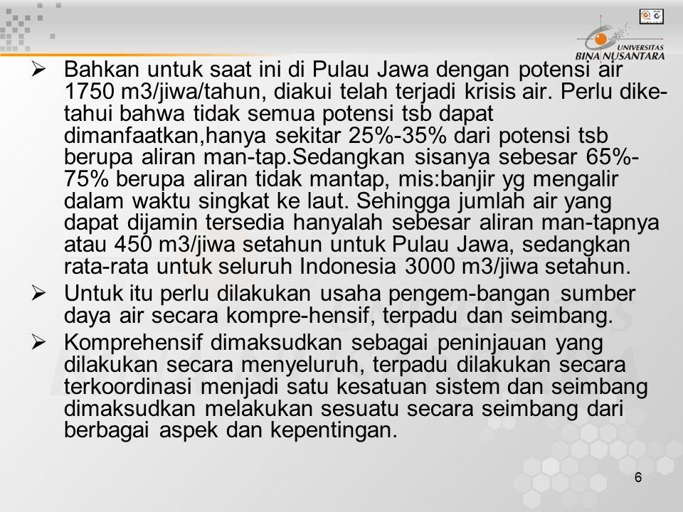 6  Bahkan untuk saat ini di Pulau Jawa dengan potensi air 1750 m3/jiwa/tahun, diakui telah terjadi krisis air.