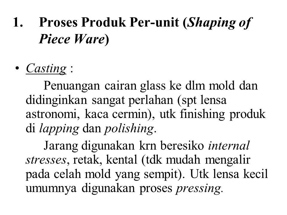 1.Proses Produk Per-unit (Shaping of Piece Ware) Casting : Penuangan cairan glass ke dlm mold dan didinginkan sangat perlahan (spt lensa astronomi, kaca cermin), utk finishing produk di lapping dan polishing.