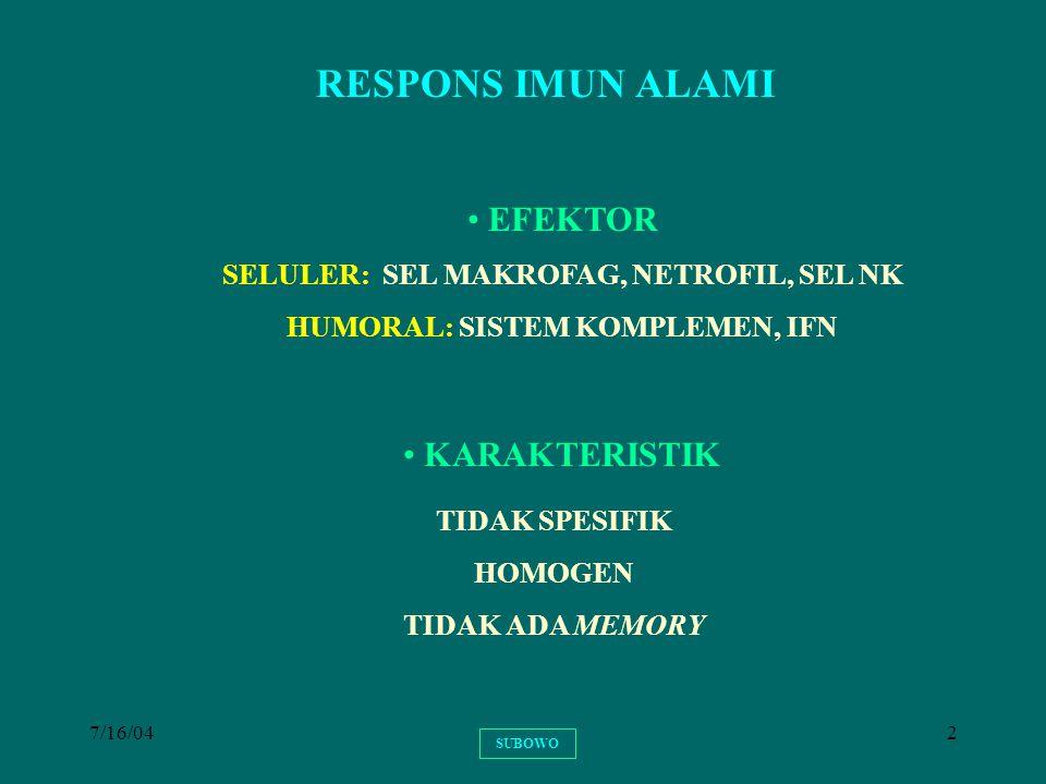 7/16/042 RESPONS IMUN ALAMI TIDAK SPESIFIK HOMOGEN TIDAK ADA MEMORY KARAKTERISTIK EFEKTOR SELULER: SEL MAKROFAG, NETROFIL, SEL NK HUMORAL: SISTEM KOMP