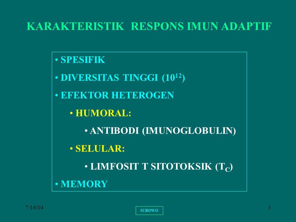 7/16/0434 RESPONS IMUN SEKUNDER RESPONS IMUN SEKUNDER (RESPONS ANAMNESTIK) BERLANGSUNG APABILA DI KEMUDIAN HARI TUBUH DIPAPAR LAGI OLEH EPITOP YANG SAMA RESPONS IMUN SEKUNDER BERLANGSUNG BERKAT ADANYA SEL-SEL LIMFOSIT MEMORY DARI RESPONS IMUN PRIMER TERJADI PROSES SELULER YANG SAMA HASIL: SPESIFISITAS YANG SAMA PROSES LEBIH CEPAT EFEKTOR MENINGKAT AFINITAS EFEKTOR MENINGKAT DIMANFAATKAN UNTUK IMUNISASI SUBOWO