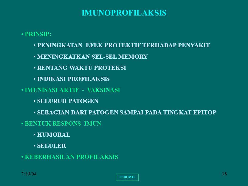 7/16/0438 IMUNOPROFILAKSIS PRINSIP: PENINGKATAN EFEK PROTEKTIF TERHADAP PENYAKIT MENINGKATKAN SEL-SEL MEMORY RENTANG WAKTU PROTEKSI INDIKASI PROFILAKS