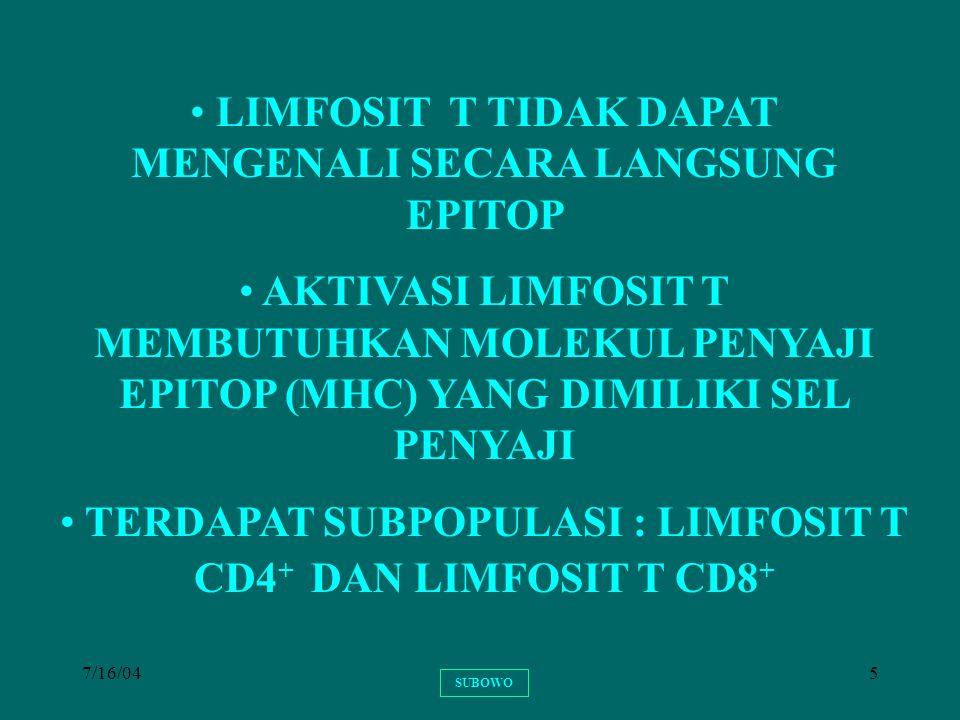 7/16/045 LIMFOSIT T TIDAK DAPAT MENGENALI SECARA LANGSUNG EPITOP AKTIVASI LIMFOSIT T MEMBUTUHKAN MOLEKUL PENYAJI EPITOP (MHC) YANG DIMILIKI SEL PENYAJ