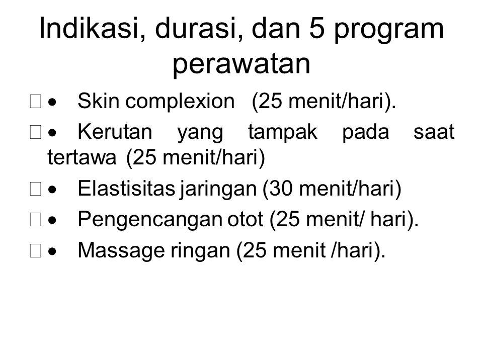Indikasi, durasi, dan 5 program perawatan  Skin complexion (25 menit/hari).  Kerutan yang tampak pada saat tertawa (25 menit/hari)  Elastisitas