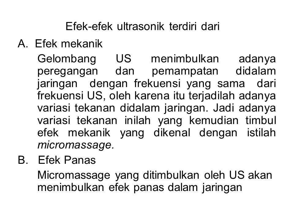 Efek-efek ultrasonik terdiri dari A. Efek mekanik Gelombang US menimbulkan adanya peregangan dan pemampatan didalam jaringan dengan frekuensi yang sam