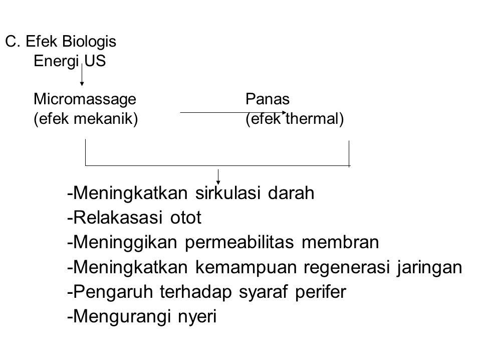 C. Efek Biologis Energi US MicromassagePanas (efek mekanik)(efek thermal) -Meningkatkan sirkulasi darah -Relakasasi otot -Meninggikan permeabilitas me
