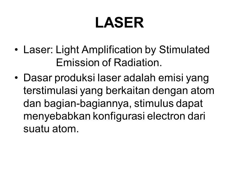 LASER Laser: Light Amplification by Stimulated Emission of Radiation. Dasar produksi laser adalah emisi yang terstimulasi yang berkaitan dengan atom d