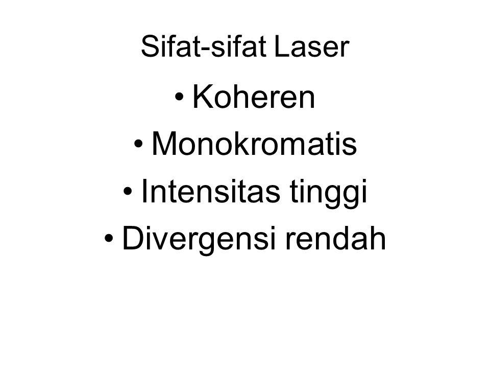 Sifat-sifat Laser Koheren Monokromatis Intensitas tinggi Divergensi rendah
