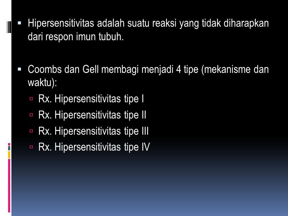  Hipersensitivitas adalah suatu reaksi yang tidak diharapkan dari respon imun tubuh.  Coombs dan Gell membagi menjadi 4 tipe (mekanisme dan waktu):
