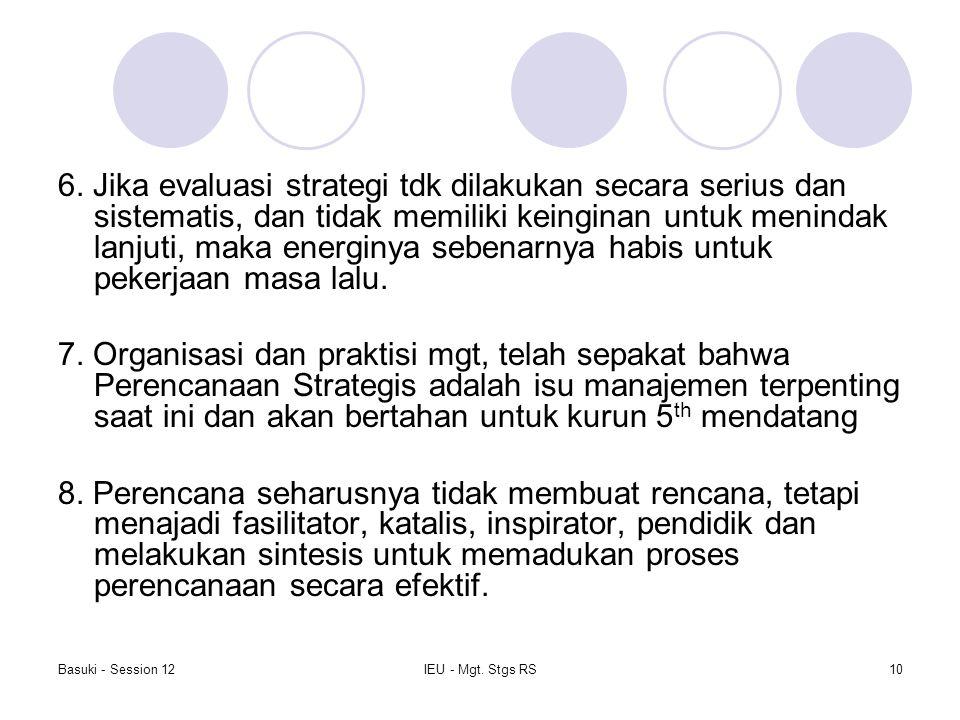 Basuki - Session 12IEU - Mgt. Stgs RS10 6. Jika evaluasi strategi tdk dilakukan secara serius dan sistematis, dan tidak memiliki keinginan untuk menin