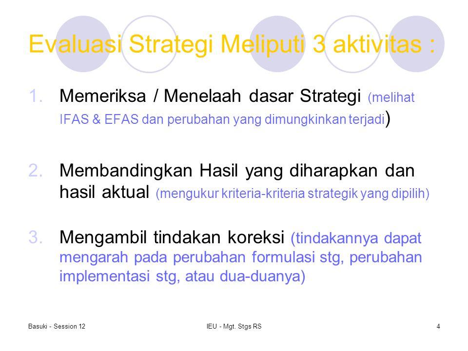 Basuki - Session 12IEU - Mgt. Stgs RS4 Evaluasi Strategi Meliputi 3 aktivitas : 1.Memeriksa / Menelaah dasar Strategi (melihat IFAS & EFAS dan perubah