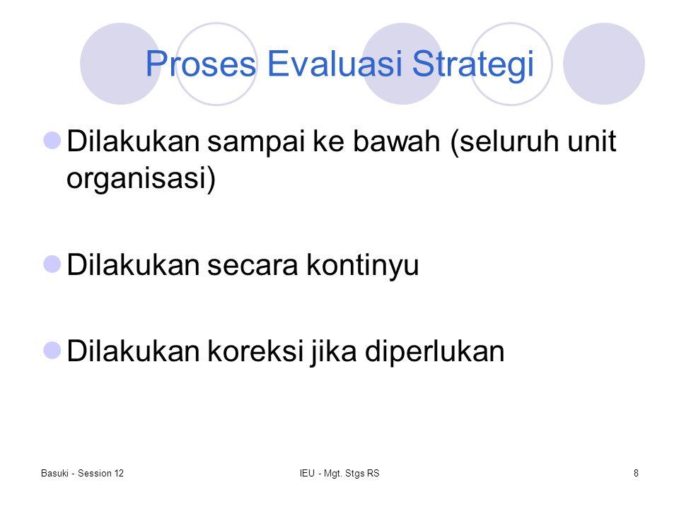 Basuki - Session 12IEU - Mgt. Stgs RS8 Proses Evaluasi Strategi Dilakukan sampai ke bawah (seluruh unit organisasi) Dilakukan secara kontinyu Dilakuka