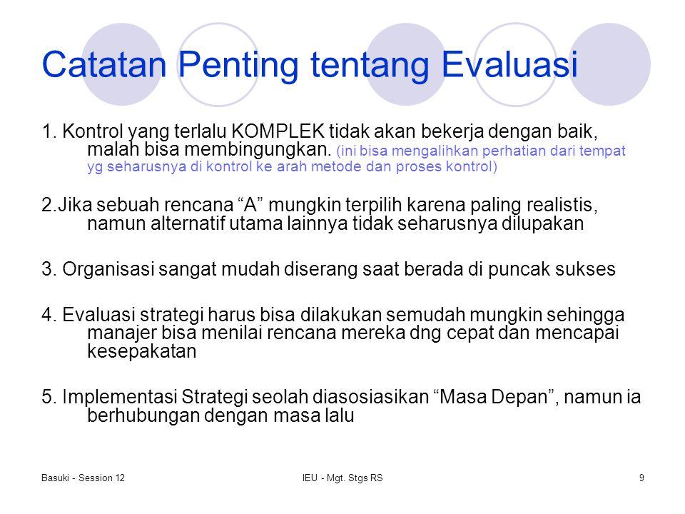 Basuki - Session 12IEU - Mgt. Stgs RS9 Catatan Penting tentang Evaluasi 1. Kontrol yang terlalu KOMPLEK tidak akan bekerja dengan baik, malah bisa mem