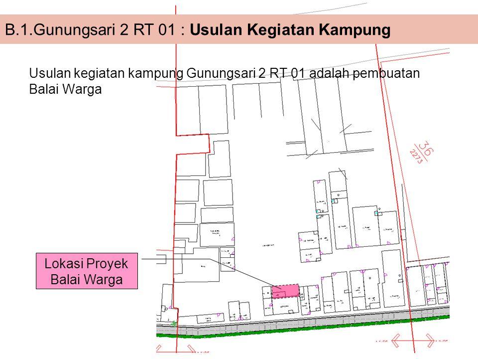 Usulan kegiatan kampung Gunungsari 2 RT 01 adalah pembuatan Balai Warga B.1.Gunungsari 2 RT 01 : Usulan Kegiatan Kampung Lokasi Proyek Balai Warga