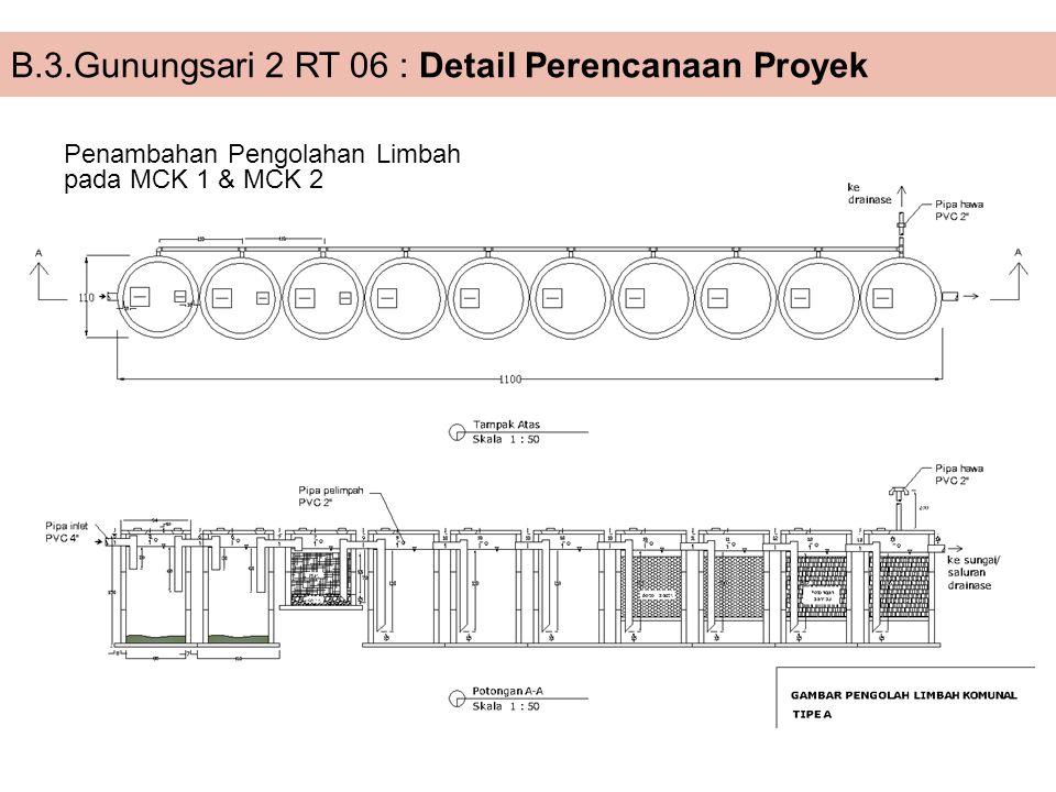 Penambahan Pengolahan Limbah pada MCK 1 & MCK 2 B.3.Gunungsari 2 RT 06 : Detail Perencanaan Proyek