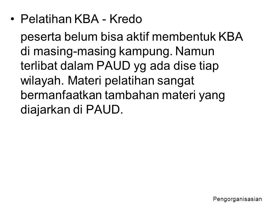 Pelatihan KBA - Kredo peserta belum bisa aktif membentuk KBA di masing-masing kampung. Namun terlibat dalam PAUD yg ada dise tiap wilayah. Materi pela