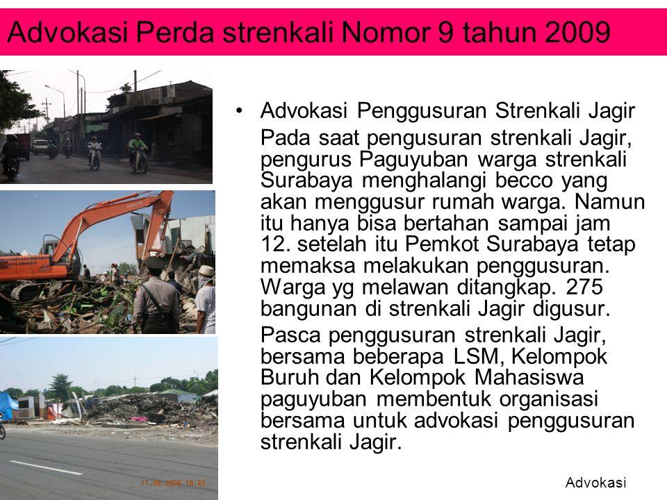 Advokasi Penggusuran Strenkali Jagir Pada saat pengusuran strenkali Jagir, pengurus Paguyuban warga strenkali Surabaya menghalangi becco yang akan men